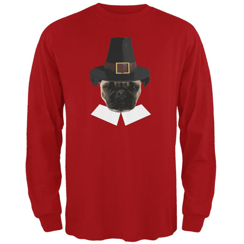 Thanksgiving Funny Pug Pilgrim Red Adult Long Sleeve T-Shirt