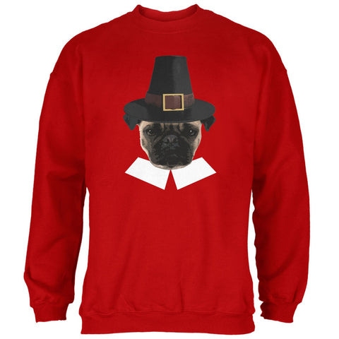 Thanksgiving Funny Pug Pilgrim Red Adult Sweatshirt