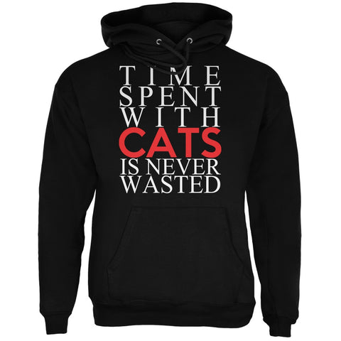 Time Spent With Cats Never Wasted Black Adult Hoodie