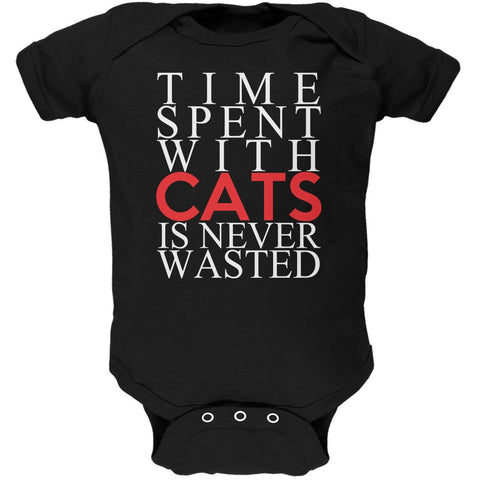 Time Spent With Cats Never Wasted Black Soft Baby One Piece