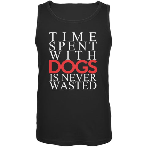 Time Spent With Dogs Never Wasted Black Adult Tank Top