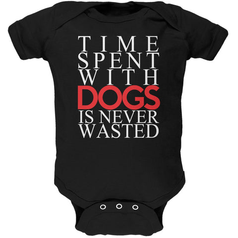 Time Spent With Dogs Never Wasted Black Soft Baby One Piece