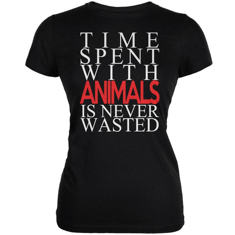 Time Spent With Animals Never Wasted Black Juniors Soft T-Shirt