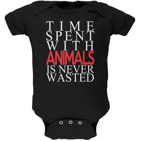 Time Spent With Animals Never Wasted Black Soft Baby One Piece