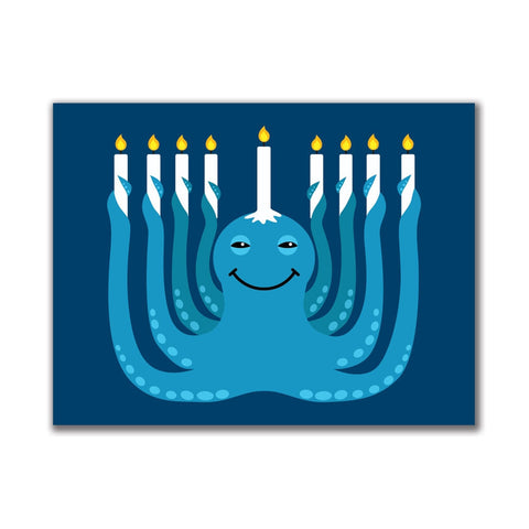 Hanukkah Menorah-ctopus Funny Octopus 3x4in. Rectangular Decal Sticker