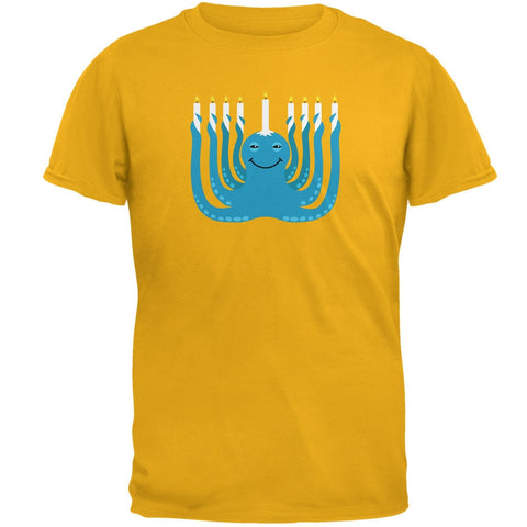 Hanukkah Menorah-ctopus Funny Octopus Gold Adult T-Shirt