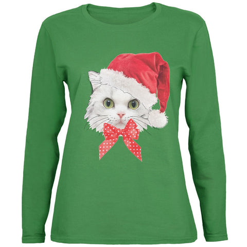Christmas Cat Womens Long Sleeve T-Shirt