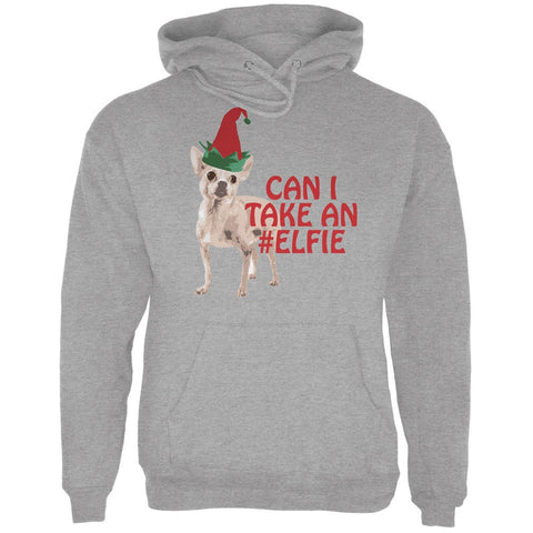 Christmas Puppy Selfie Sport Grey Adult Hoodie