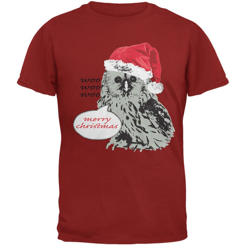 Christmas Who Who Who Owl Cardinal Red Adult T-Shirt