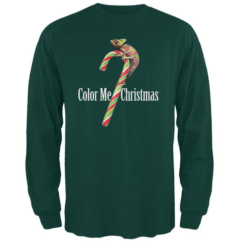 Color Me Christmas Chameleon Forest Adult Long Sleeve T-Shirt