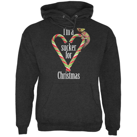 Sucker For Christmas Chameleon Charcoal Heather Adult Hoodie