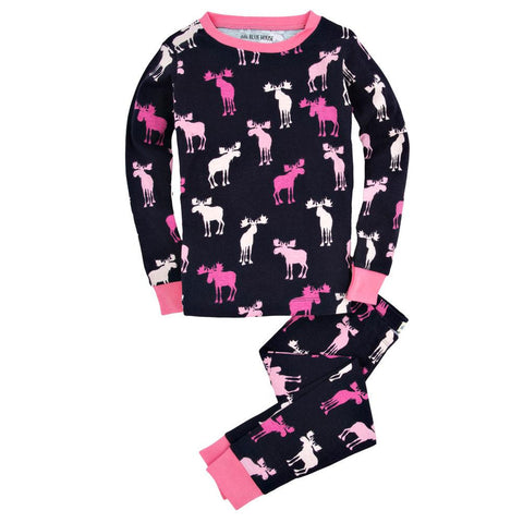 Pink And Navy Moose Girls Youth Pajama Set