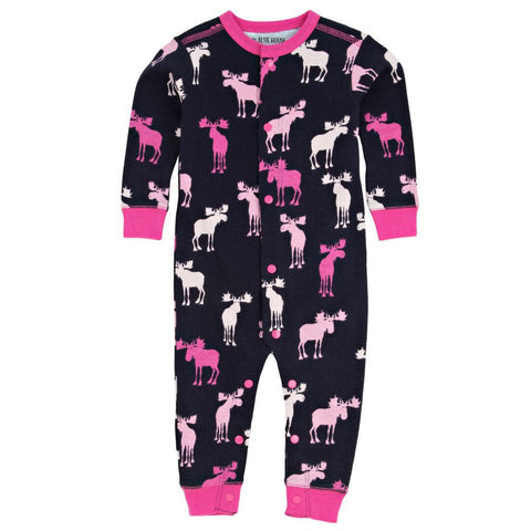 Pink And Navy Moose Baby Girl Sleepy Romper