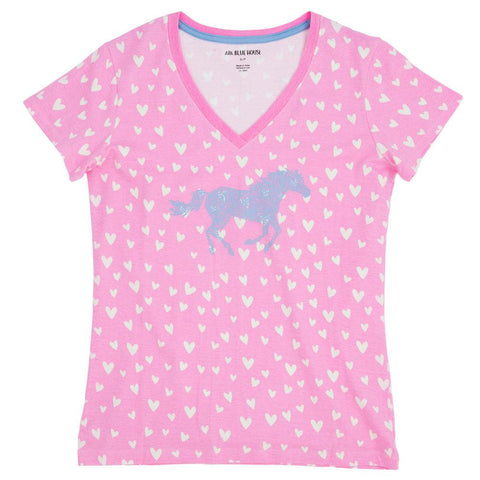 Hearts And Horses Womens Pajama T-Shirt