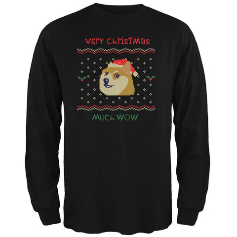 Doge Ugly Christmas Sweater Black Adult Long Sleeve T-Shirt
