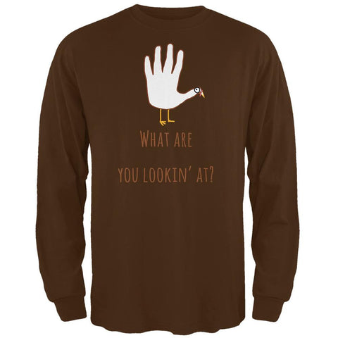 Thanksgiving Turkey What Are You Looking At?  Brown Adult Long Sleeve T-Shirt