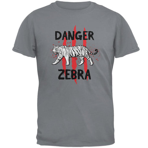 Danger Zebra White Siberian Tiger Gravel Grey Adult T-Shirt