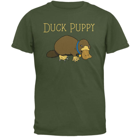 Duck Puppy Platypus Military Green Adult T-Shirt