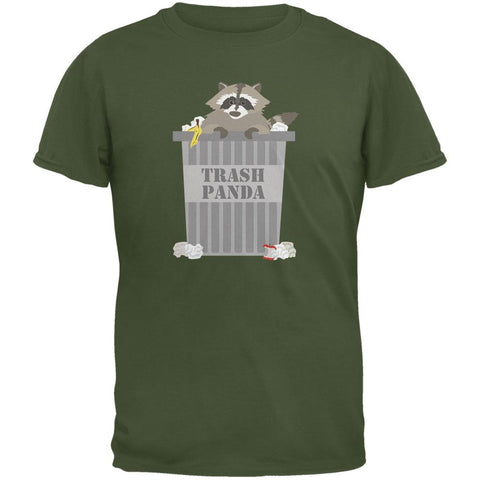 Trash Panda Raccoon Military Green Adult T-Shirt