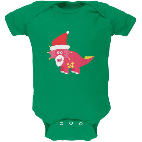 Christmas Dinosaur Triceratops Apple Green Soft Baby One Piece