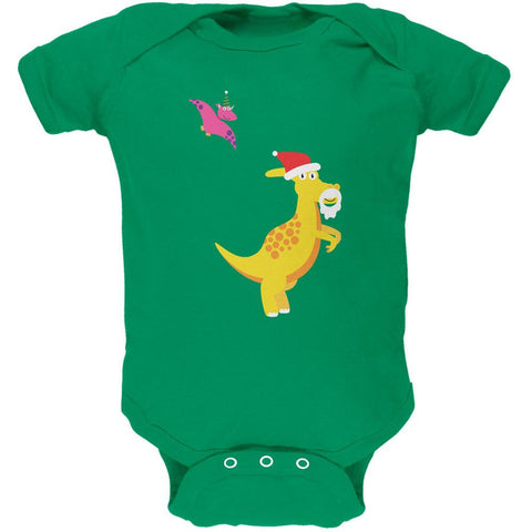 Christmas Dinosaur Pterodactyl Apple Green Soft Baby One Piece