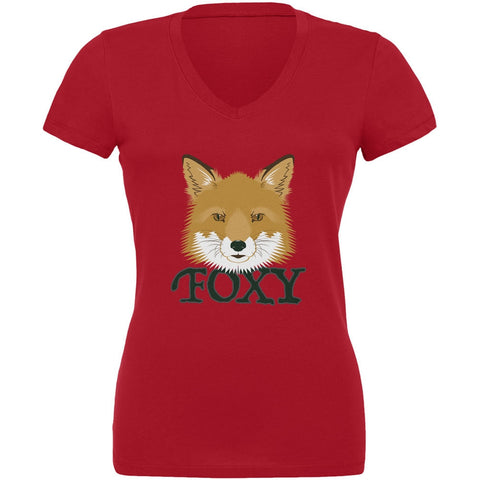 Foxy Red Juniors V-Neck T-Shirt
