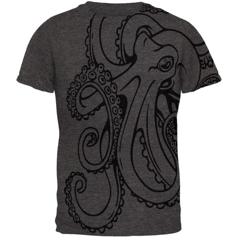 Octopus Outline All Over Dark Heather Adult T-Shirt