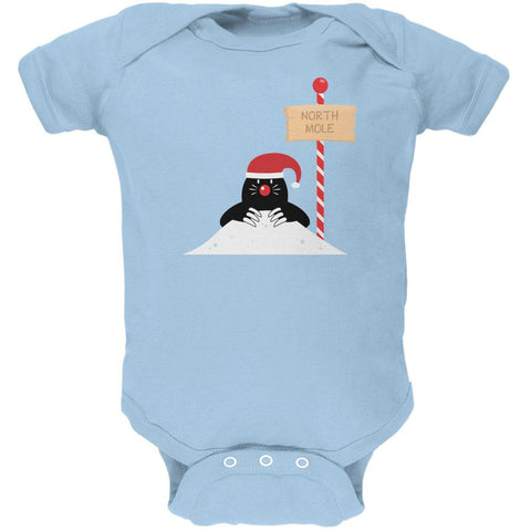 Christmas The North Mole Pole Light Blue Soft Baby One Piece