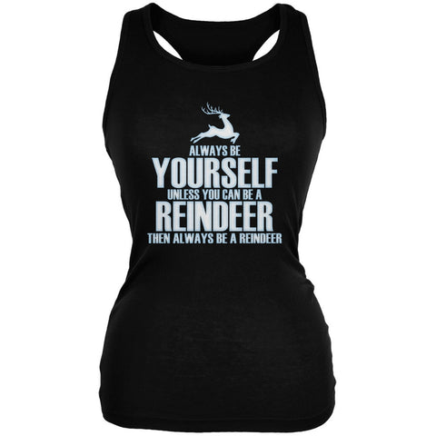 Christmas Always Be Yourself Reindeer Black Juniors Soft Tank Top