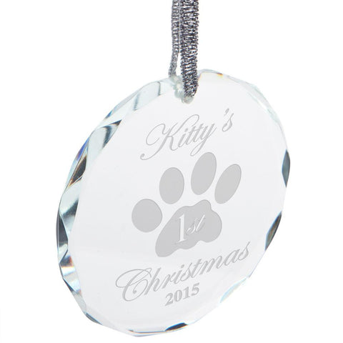 Kitty's First Christmas Etched Round Crystal Ornament