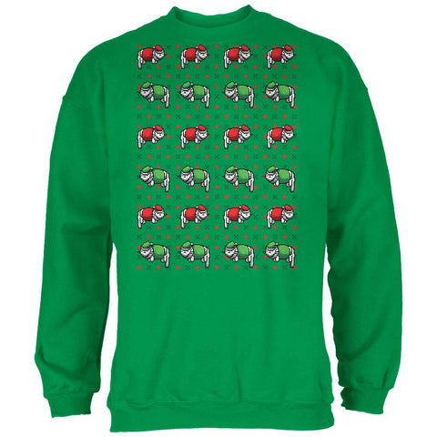 8 Bit Xmas Cat Ugly Sweater Black Adult Sweatshirt