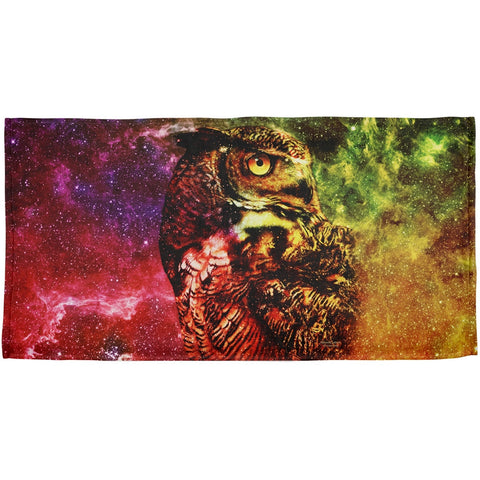 Galaxy Zen Wisdom Owl All Over Beach Towel