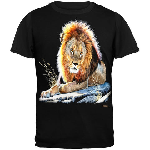 Lion On A Rock Adult Black Back T-Shirt