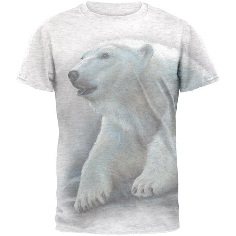Polar Bear All Over Heather White Adult T-Shirt