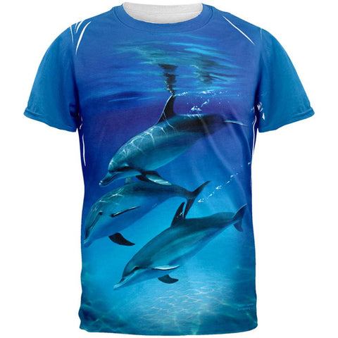Three Dolphins All Over Adult T-Shirt
