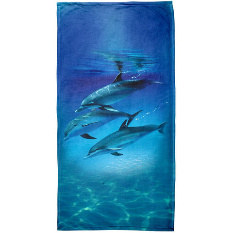Three Dolphins All Over Beach Towel