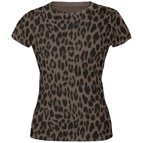 Cheetah Pattern All Over Dark Heather Juniors Soft T-Shirt