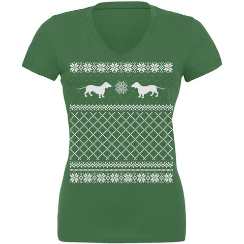 Dachshund Ugly Christmas Sweater Leaf Juniors V-Neck T-Shirt