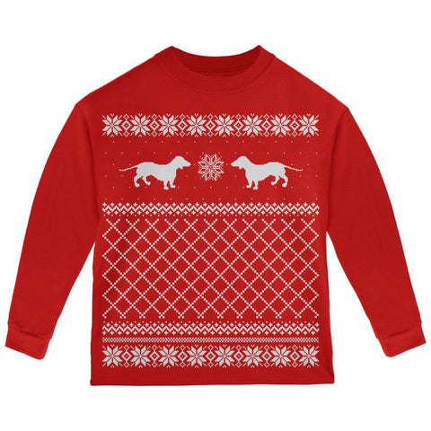 Dachshund Ugly Christmas Sweater Red Toddler Long Sleeve T-Shirt