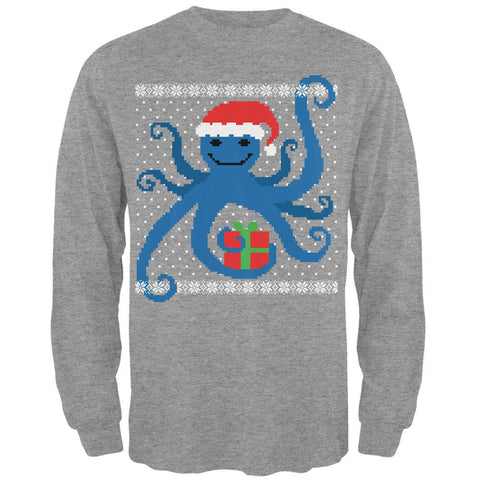 Ugly Christmas Sweater Octopus Heather Grey Adult Long Sleeve T-Shirt