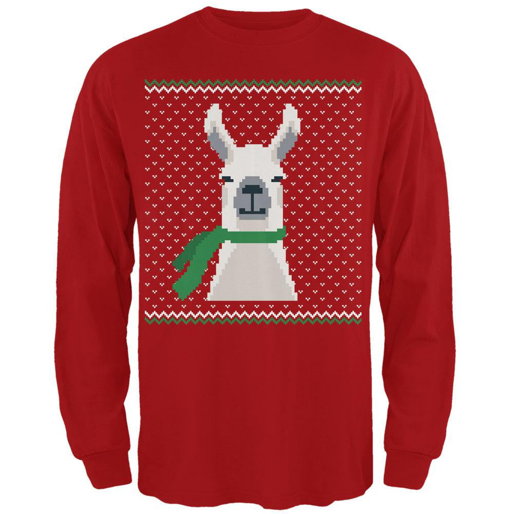 Ugly Christmas Sweater Big Llama Red Adult Long Sleeve T-Shirt ...