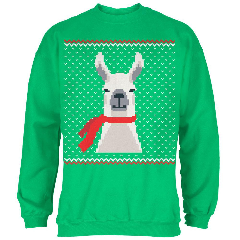 Llama Christmas Sweater.Ugly Christmas Sweater Big Llama Irish Green Adult Sweatshirt