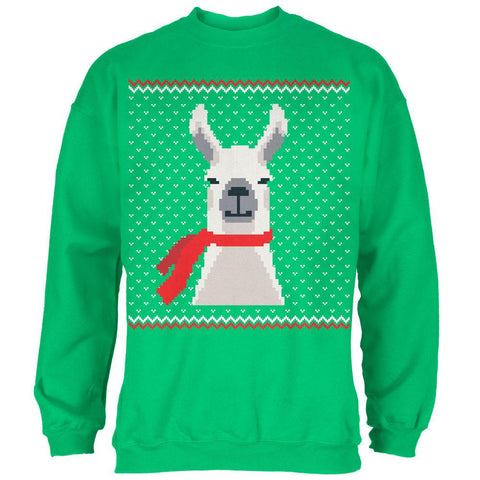 Ugly Christmas Sweater Big Llama Irish Green Adult Sweatshirt