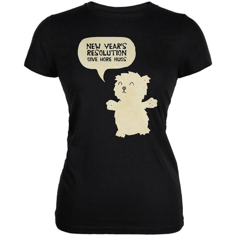 New Year's Give More Hugs Black Juniors Soft T-Shirt