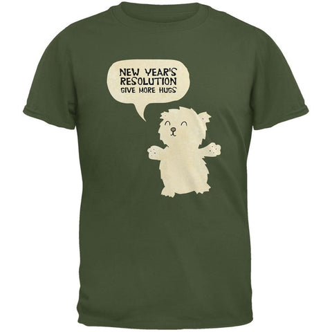New Year's Give More Hugs Military Green Adult T-Shirt