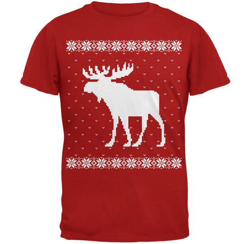 Big Moose Ugly Christmas Sweater Red Adult T-Shirt