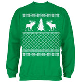 Moose Ugly Christmas Sweater Green Toddler Hoodie