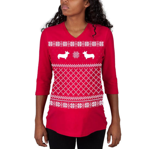 Corgi Ugly Christmas Sweater Red Maternity 3/4 sleeve T-shirt