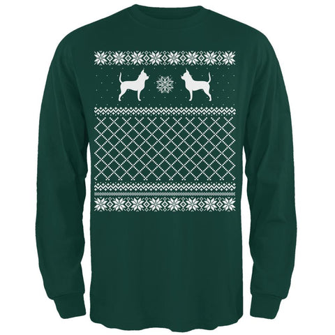 Chihuahua Ugly Christmas Sweater Forest Adult Long Sleeve T-Shirt