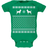 Chihuahua Ugly Christmas Sweater Kelly Green Soft Baby One Piece